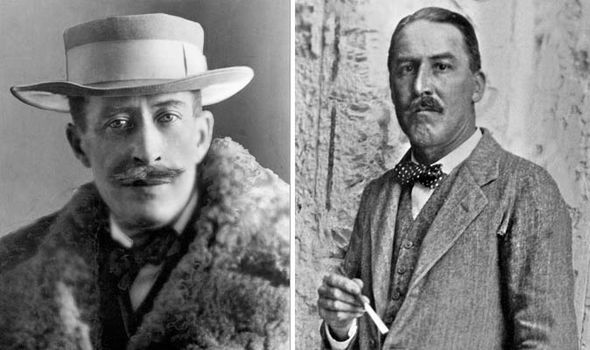 Lord Carnarvon on left and Howard Carter on right